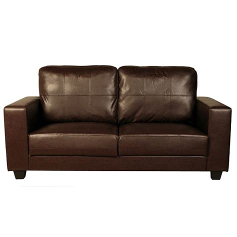 Leather Sofas Brisbane Queensland 3 Seater Sofa In Brown Faux Leather 27069