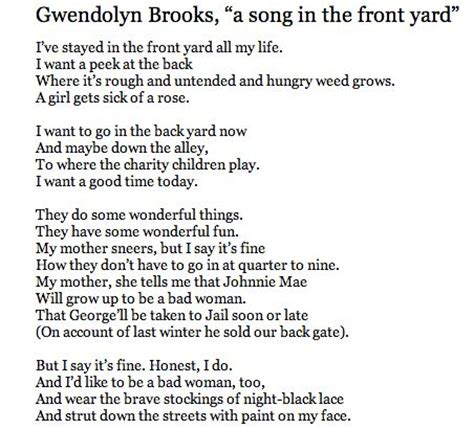 front yards the front and yards on - Gwendolyn A Song In The Front Yard