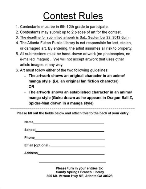 Giveaway Contest Rules Template - contest rules free printable documents