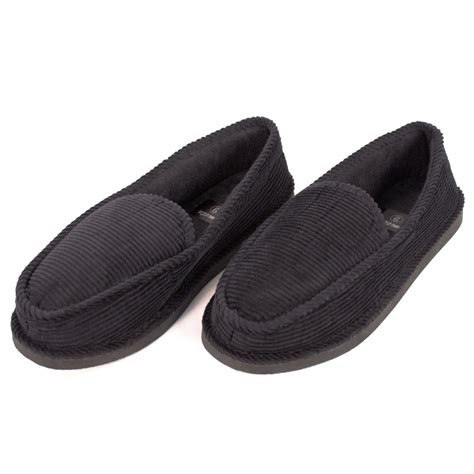 Mens Slippers House Shoes Black Corduroy Moccasin Slip On Indoor Outdoor Comfort Ebay
