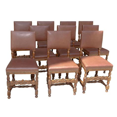 Oak And Leather Dining Room Chairs by Set Of 10 Leather And Oak Dining Chairs For Sale At 1stdibs