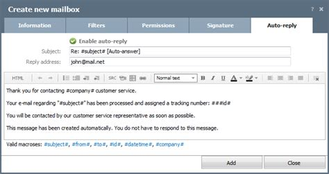 Create Edit Mailbox Teamwox Help No Longer With The Company Auto Reply Template