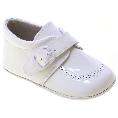 baby boy white patent pram shoes velcro buckle cachet