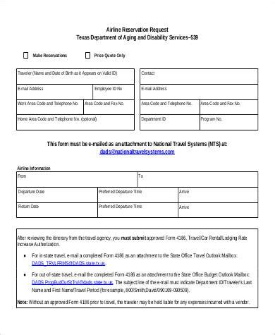 48 Free Reservation Forms Sle Templates Travel Booking Request Form Template