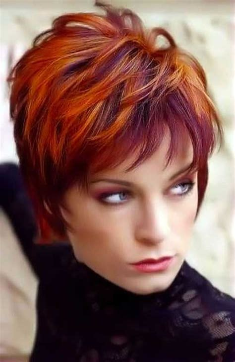very short hairstyle with highlights lift and a bump on short hairstyles with red highlights hair pinterest