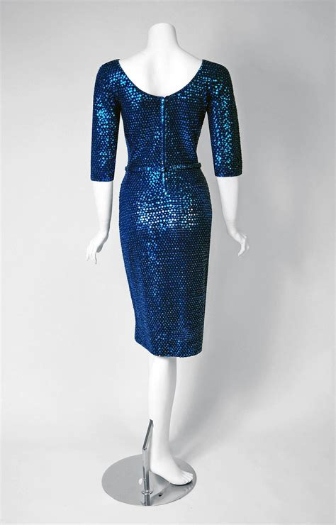 Blue Belted Dress S L 13405 1950 s gene shelly royal blue sequin hourglass knit belted wiggle cocktail dress at 1stdibs