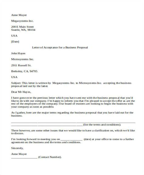 24 Business Proposal Letter Sle Sle Templates Business Acceptance Letter Template