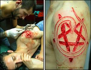 satanic shoulder skin removal bme tattoo piercing and
