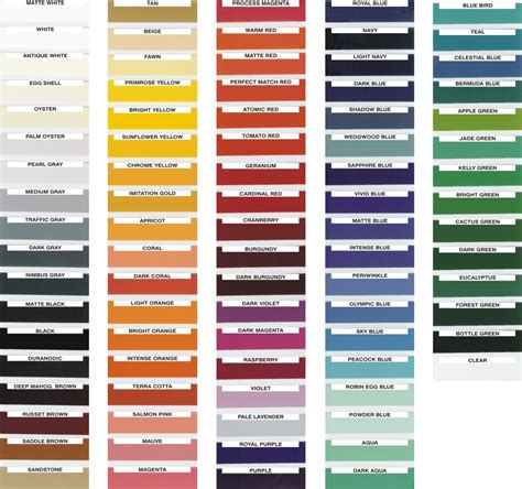 paint color names color charts quiknumber