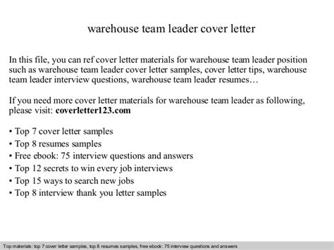 cover letter template team leader warehouse team leader cover letter