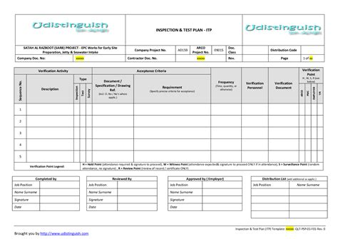 test plan template sle inspection plan exle pictures to pin on