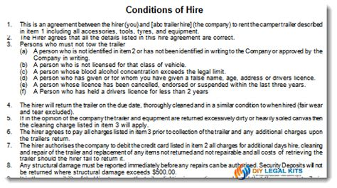 Credit Hire Agreement Template Cer Trailer Rental Hire Agreement Form Contract
