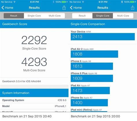 iphone 6s test iphone 6s geekbench speed test schneller als samsung galaxy s6 macbook air