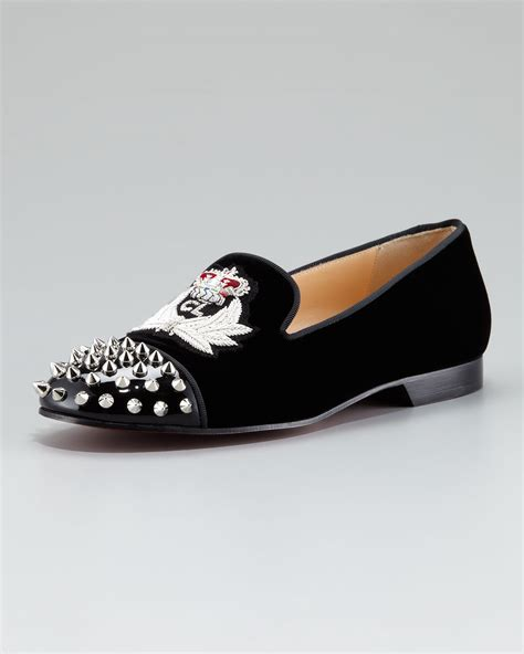 louboutin loafers christian louboutin intern spiked toe crest velvet loafer