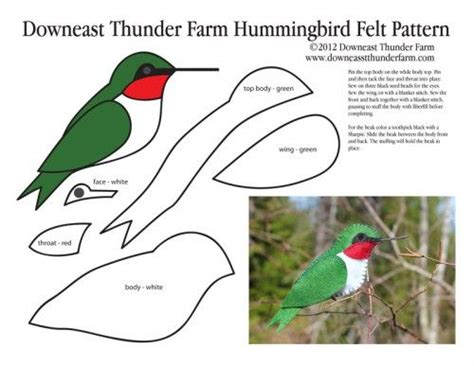 paper hummingbird template ruby throated hummingbird felt ornament use for bird