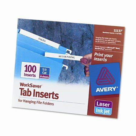 Avery Consumer Products Laser Inkjet Hanging File Folder Inserts 100 Pack Set Of 4 Walmart Com Hanging Folder Tab Template