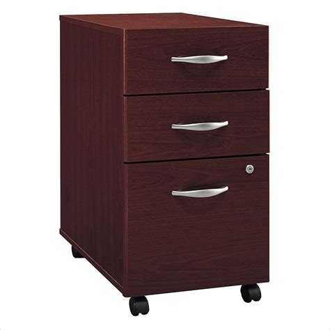 3 drawer wood vertical file cabinet bush bbf series c 3dwr mobile pedestal in mahogany wc36753