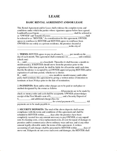 printable basic rental agreement or residential lease 7 basic rental agreement or residential lease printable