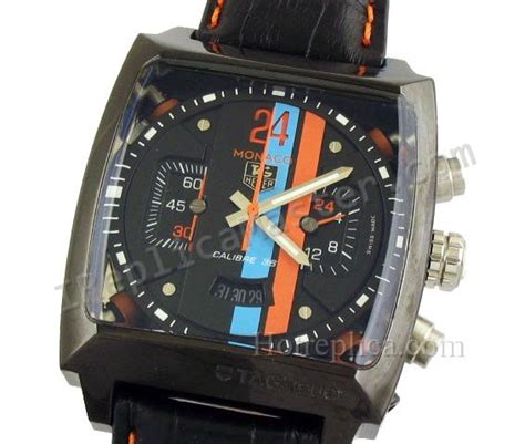 Tag Heuer Monaco V4 Leather Silver Black Hublot Ap Expedition reloj tag heuer monaco replica