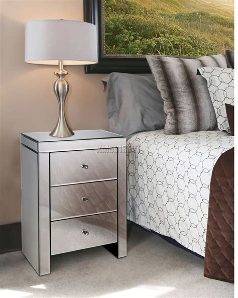 Glass Table Ls For Bedroom by Foxhunter Mirrored Furniture Glass 3 Drawer Bedside