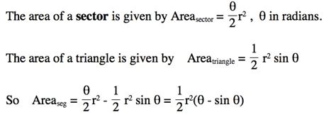 area of a section of a circle formula circle segment area formula