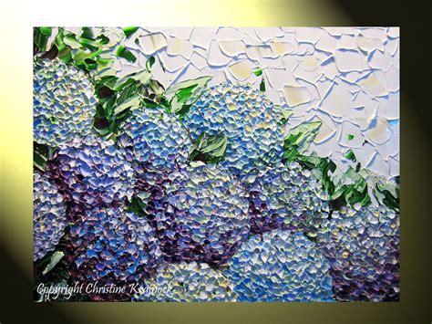 original abstract painting hydrangea textured flowers
