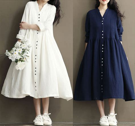 Midi Dress Korea Berkualitas s fashion korean series vintage cotton linen midi dress dress ebay