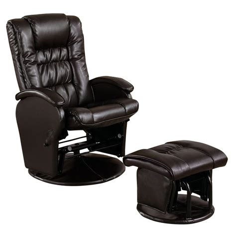 faux leather glider recliner with ottoman coaster faux leather like glider chair with matching