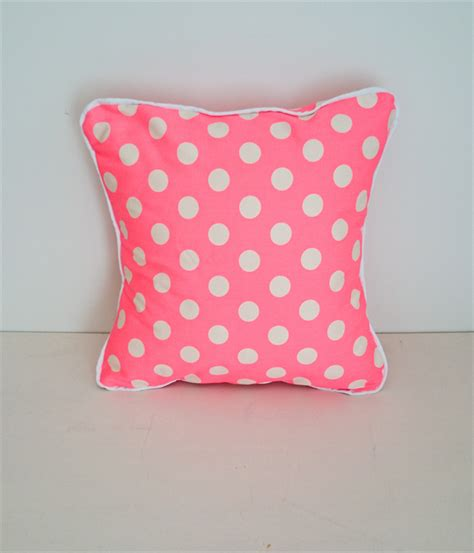 Smanate 02 Cushion Cover White Pink neon pink dot envelope cushion cover with white piping