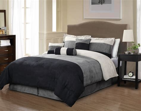 7 piece queen louis micro suede black and beige comforter