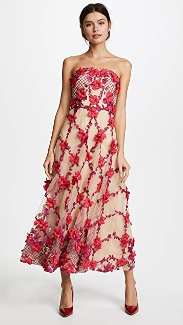Sale Dresses 100 At Shopbop Part 2 by Marchesa Notte 3d Embroidered Strapless Tea Length Gown