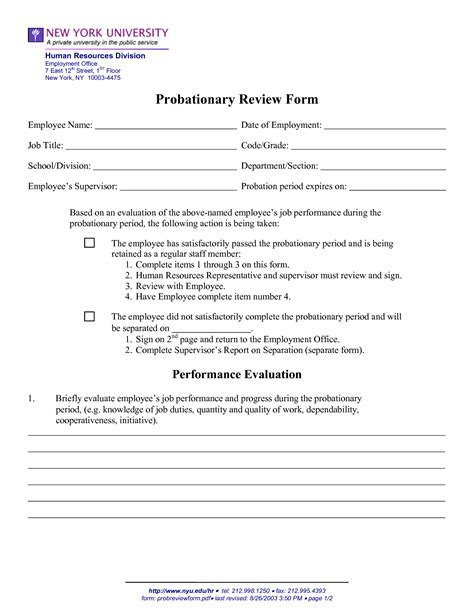 Probation Evaluation Letter employee probation period form 51 images best photos