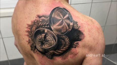 compass tattoo hd old compass in 3d with rope and map youtube