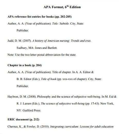 apa 6th edition template sle apa format template 6 free documents in pdf word