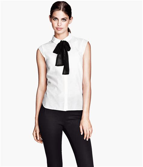 Blouse Rumbai Bow Black we can never resist a bow neck blouse or a bargain h m
