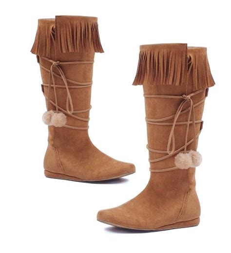 boots for india brown moccasins indian pocahontas costume fringe winter