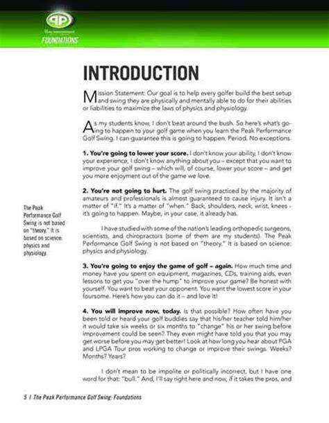 peak performance golf swing foundations manual peak performance golf swing foundation manual swing