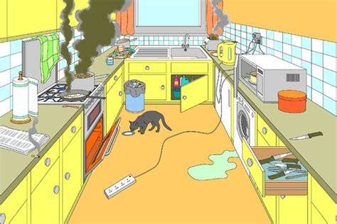 Exles Of Accidents In The Kitchen by A Picture Of A Kitchen With Hazards How Many Kitchen