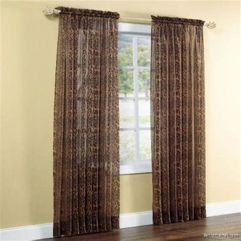 2 Pcs Brown Leopard Cheetah Sheer Voile Curtain Window