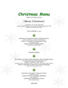 sample designed christmas menu free download
