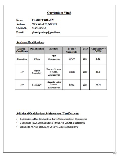 Sle Resume Computer Science Engineering Fresher Resume For Engineering Students Computer Science