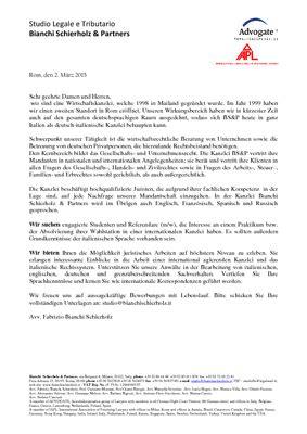 Bewerbungsschreiben Praktikum Großkanzlei Universit 228 T D 252 Sseldorf Praktikum Oder Wahlstation Bei Italienischer Kanzlei In Mailand