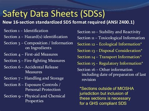 how many sections in sds hazard communication training program by miosha