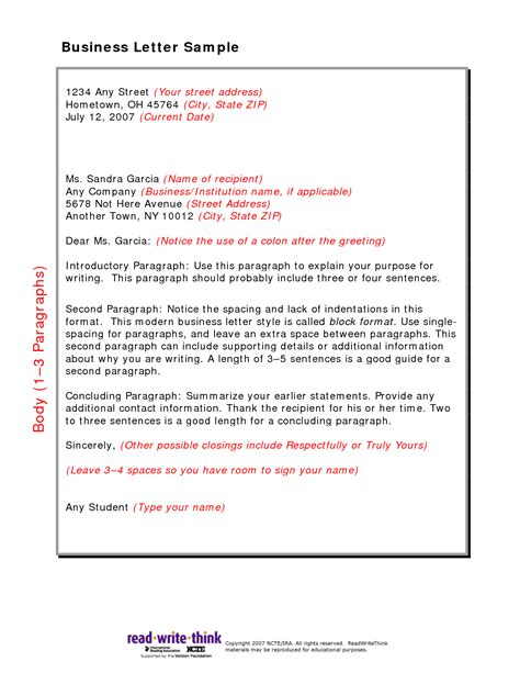 Business Letter Format For Junior High Format For Letter Writing Best Template Collection