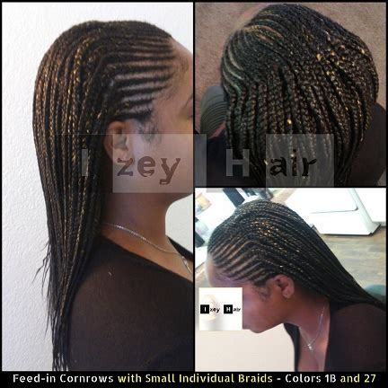 feed in cornrows with small individual braids colors 1b