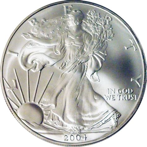 1 Oz Silver Dollar Worth - 2004 american silver eagle dollar bu 1oz silver