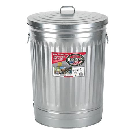 backyard garbage cans shop behrens 31 gallon silver indoor outdoor garbage can