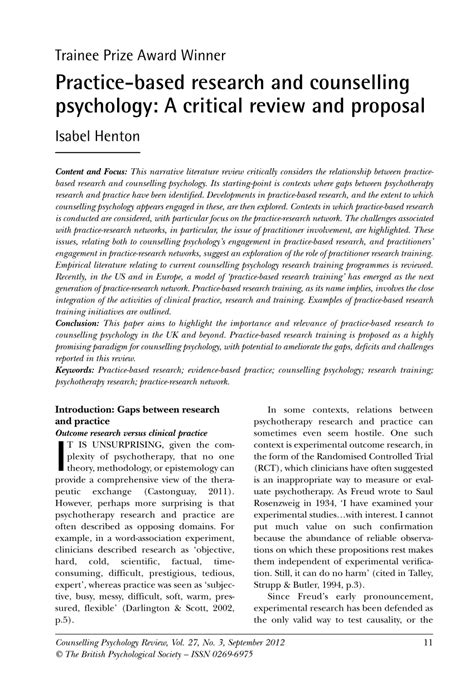 practice based research  counselling psychology  critical review  proposal
