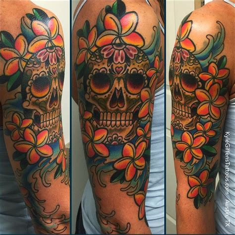 sugar skull sleeve tattoo designs studio colorful sugar skull half