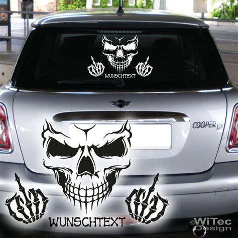Skull Aufkleber Auto by Autoaufkleber Skull Totenkopf Wunschtext Heckscheibenaufkleber